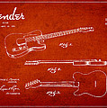 Vintage Fender Guitar Patent Drawing From 1951 by Aged Pixel