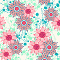Vintage Flower Pattern Print For by Studio K