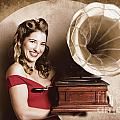 Vintage Pin-up Girl Listening To Record Player by Jorgo Photography - Wall Art Gallery