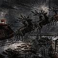 Vintage Santa Stormy Midnight Ride Reindeer Sleigh by John Stephens