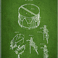 Vintage Snare Drum Patent Drawing From 1889 - Green by Aged Pixel