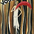 Vogue Magazine Cover Featuring A Woman In A White by William Bolin
