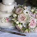 Wedding Bouquet And Cake by Lee Avison