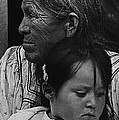 White Mountain Apache Elder And Granddaughter Rodeo White River Arizona 1970 by David Lee Guss