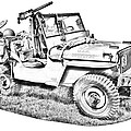 Willys World War Two Army Jeep Illustration by Keith Webber Jr