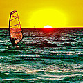 Windsurfer At Sunset On Lake Michigan From Empire-michigan  by Ruth Hager