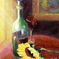 Wine And Sunflower by Carolyn Jarvis