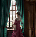 Woman In Georgian Period Dress Reading A Letter By The Window by Lee Avison
