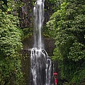 Woman With Umbrella At Wailua Falls by M Swiet Productions