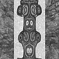 Woodcraft Ghosts Spirits Indian Native Aboriginal Masks Motif Symbol Emblem Ethnic Rituals Display H by Navin Joshi
