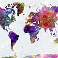 World Map In Watercolor  by Pablo Romero