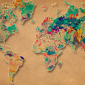 World Map Watercolor Painting  by Costinel Floricel
