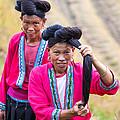 Yao Ethnic Minority Women On Rice Terrace Guilin China by Matteo Colombo