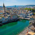 Zurich From The Grossmunster by Anthony Doudt
