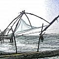 Fishing Nets On The Sea Coast In Alleppey by Ashish Agarwal