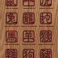 12 Chinese Zodiac Animals Wood Signs by Jit Lim