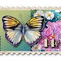 14 Cent Butterfly Stamp by Amy Kirkpatrick