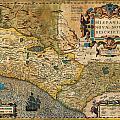 1606 Hondius And Mercator Map Of Mexico Geographicus Hispaniae Nova Mexico Mercator 1606 by MotionAge Designs