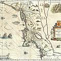 1635 Blaeu Map Of New England And New York by Paul Fearn