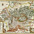 1657 Jansson Map Of Germany Germania Geographicus Germaniae Jansson 1657 by MotionAge Designs