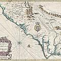 1676 John Speed Map Of Carolina by Paul Fearn