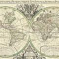 1691 Sanson Map Of The World On Hemisphere Projection by Paul Fearn