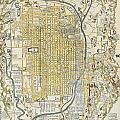 1696 Genroku 9 Early Edo  Japanese Map Of Kyoto Japan Geographicus Kyoto Genroku9 1696 by MotionAge Designs