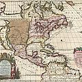 1698 Louis Hennepin Map Of North America by Paul Fearn