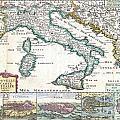 1706 De La Feuille Map Of Italy by Paul Fearn