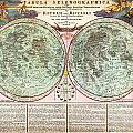 1707 Homann And Doppelmayr Map Of The Moon Geographicus Tabulaselenographicamoon Doppelmayr 1707 by MotionAge Designs