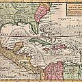 1732 Herman Moll Map Of The West Indies And Caribbean by Paul Fearn