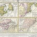 1737 Homann Heirs Map Of New England Georgia And Carolina And Virginia And Maryland by Paul Fearn