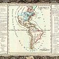 1760 Desnos And De La Tour Map Of North America And South America Geographicus Amerique Desnos 1760 by MotionAge Designs