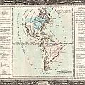 1760 Desnos And De La Tour Map Of North America And South America by Paul Fearn