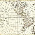1762 Janvier Map Of North America And South America  by Paul Fearn