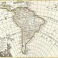 1762 Janvier Map Of South America  by Paul Fearn