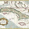 1763 Terreni  Coltellini Map Of Cuba And Jamaica by Paul Fearn