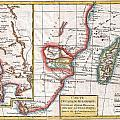 1780 Raynal And Bonne Map Of South Africa Zimbabwe Madagascar And Mozambique by Paul Fearn