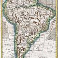 1780 Raynal And Bonne Map Of South America by Paul Fearn