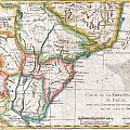 1780 Raynal And Bonne Map Of Southern Brazil Northern Argentina Uruguay And Paraguay by Paul Fearn