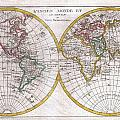 1780 Raynal And Bonne Map Of The Two Hemispheres by Paul Fearn