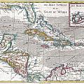 1780 Raynal And Bonne Map Of The West Indies Caribbean And Gulf Of Mexico by Paul Fearn