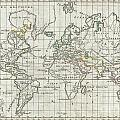 1784 Vaugondy Map Of The World On Mercator Projection by Paul Fearn