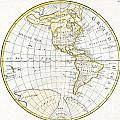 1785 Clouet Map Of North America And South America by Paul Fearn