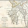 1786 Bocage Map Of Messenia In Ancient Greece by Paul Fearn