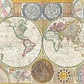 1794 Samuel Dunn Wall Map Of The World In Hemispheres by Paul Fearn