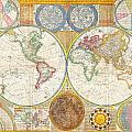 1794 Samuel Dunn Wall Map Of The World In Hemispheres by Samuel Dunn