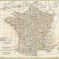 1799 Clement Cruttwell Map Of France In Departments by Paul Fearn