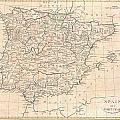 1799 Clement Cruttwell Map Of Spain And Portugal by Paul Fearn