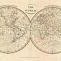1799 Cruttwell Map Of The World In Hemispheres by Paul Fearn